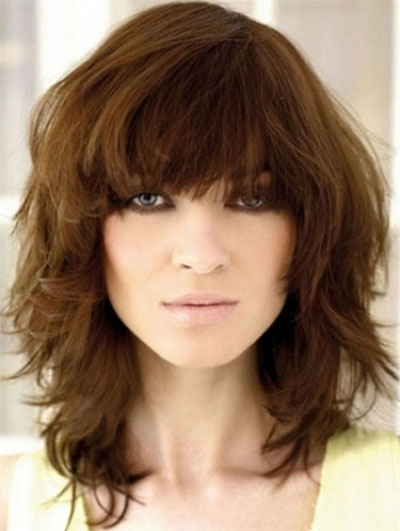 haircuts with bangs for thick hair 25 modern medium length haircuts with bangs layers for 3692