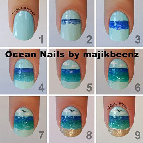 25 easy step by step nail art tutorials for beginners learners 25 easy step  by step - Ocean Nail Art Gallery - Nail Art And Nail Design Ideas