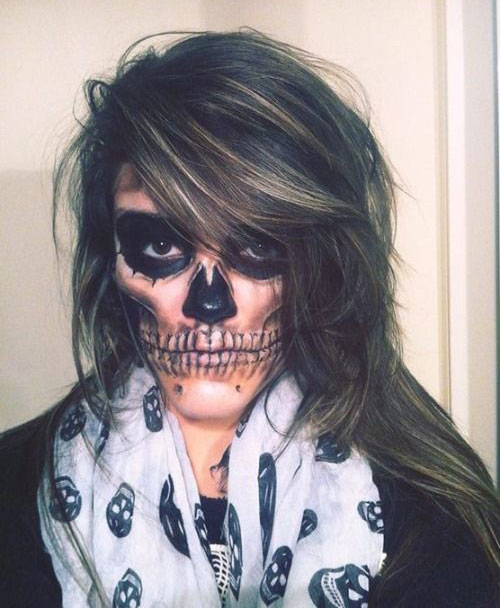 12-Halloween-Skeleton-Make-Up-Ideas-Looks-For-Girls-2014-3