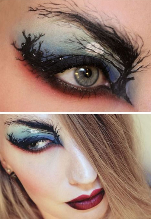 15 scary halloween zombie eye make up looks ideas for girls 2014 modern fashion blog. Black Bedroom Furniture Sets. Home Design Ideas