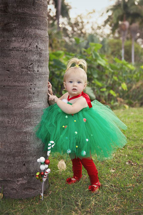 Christmas Tree Tutu Dress - 15 Best Santa & Tree Dresses For Kids & Girls 2014 Xmas Outfits