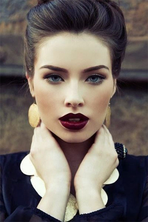 10-Winter-Make-Up-Looks-Ideen-Für-Brown-Eyes-Dark-Lips-2015-1