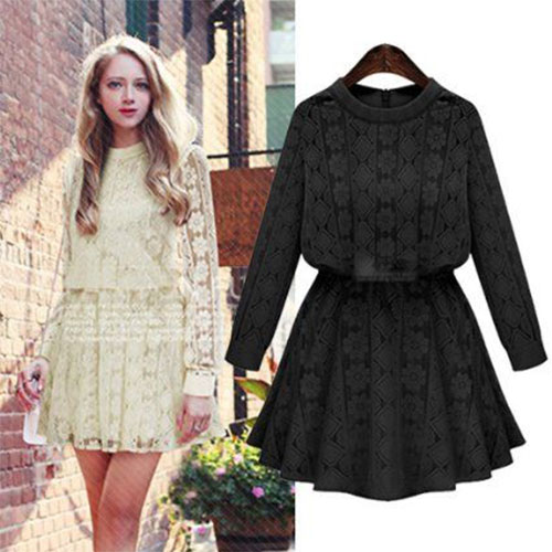 Fall Clothing New Arrival Elegant Las Round Neck Long Sleeved Lace Dress