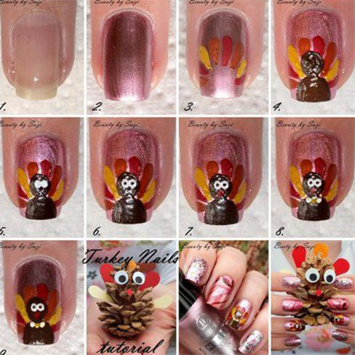 Nail Art Tutorial All I Want For Christmas Is Plaid: Simple Thanksgiving Nail Art Tutorials For Beginners
