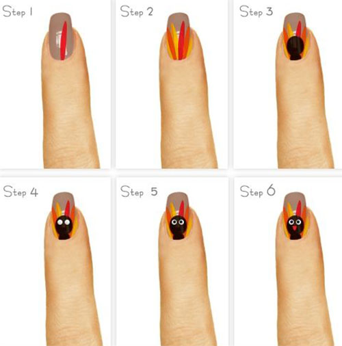 Simple-Thanksgiving-Nail-Art-Tutorials-For-Beginners-Learners -2015-5