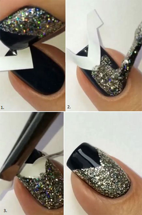 Simple Easy Happy New Year Eve Nail Art