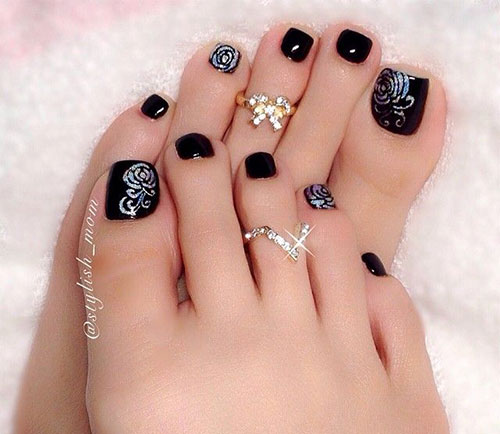 Nail art design 2016 pedicure best nails 2018 black pedicure designs slybury 10 winter toe nail art prinsesfo Images