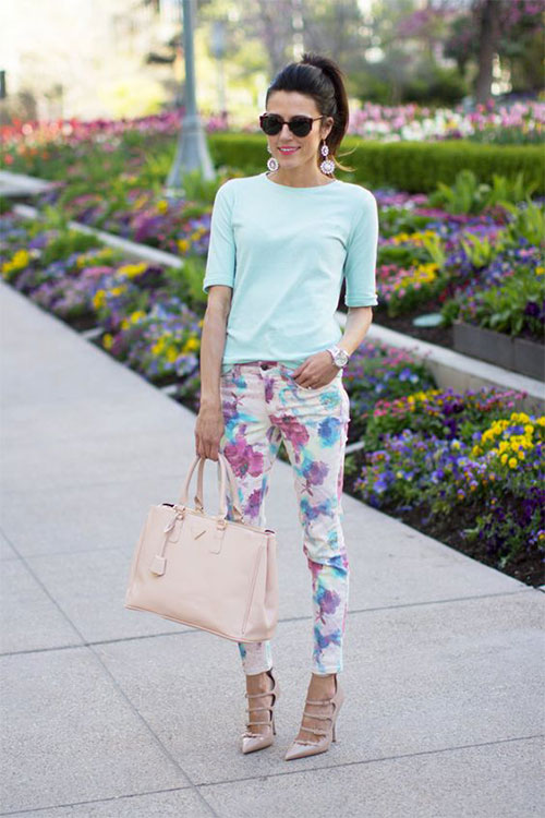 20-Pink-Black-Blue-Floral-Pants-Fashion-Ideas-2016-For-Girls-Women-1