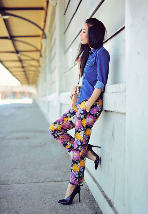 20-Pink-Black-Blue-Floral-Pants-Fashion-Ideas-2016-For-Girls-Women-18