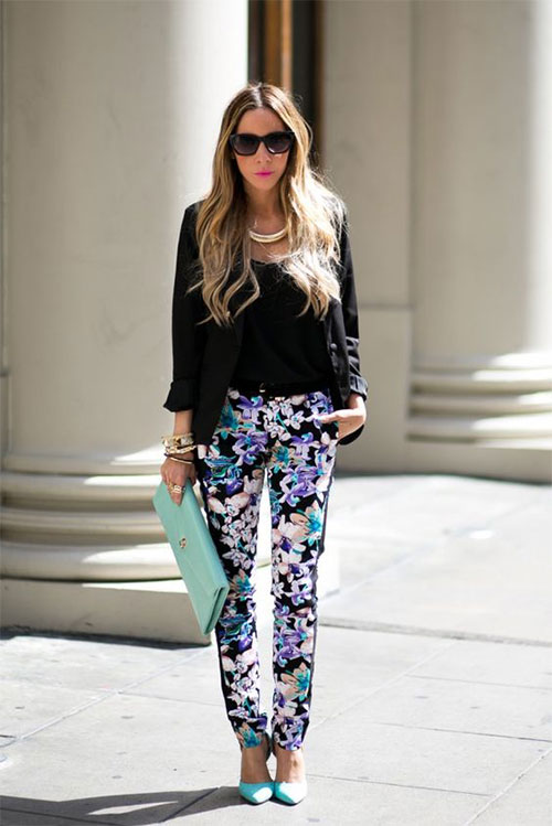 20-Pink-Black-Blue-Floral-Pants-Fashion-Ideas-2016-For-Girls-Women-3