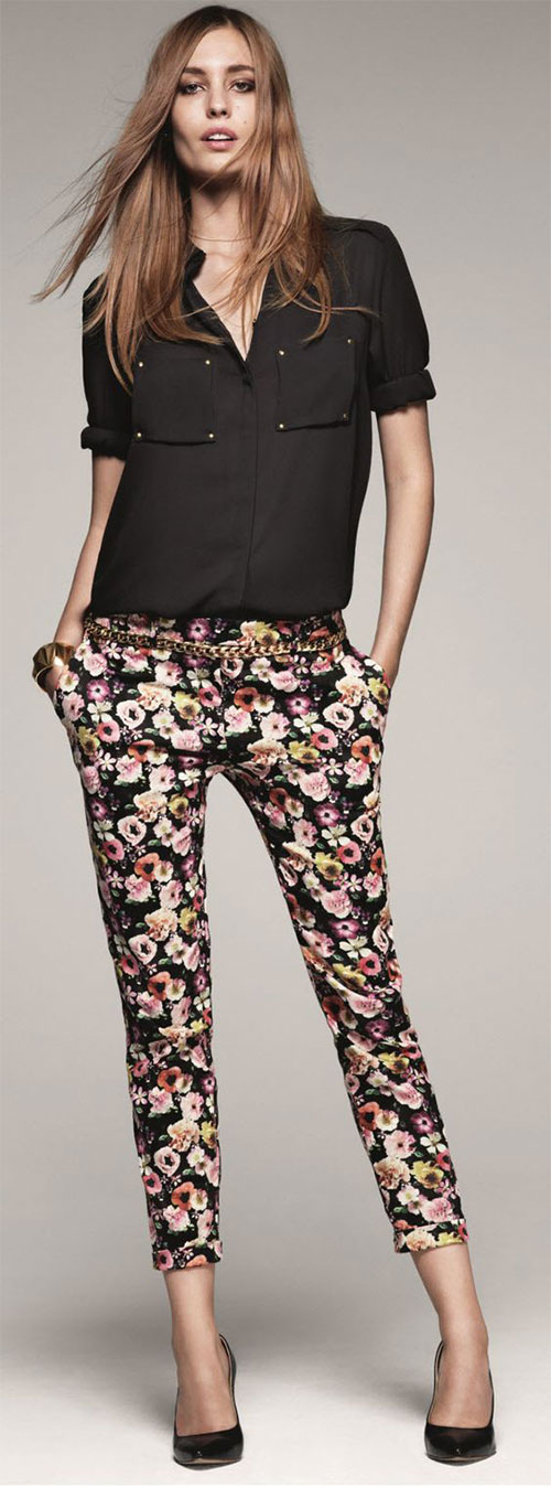 c12381c57 20 Pink, Black, & Blue Floral Pants Fashion Ideas 2016 For Girls ...