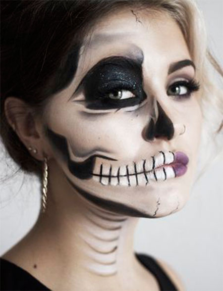 18 scary halloween mouth teeth half face makeup looks ideas 2016 modern fashion blog. Black Bedroom Furniture Sets. Home Design Ideas