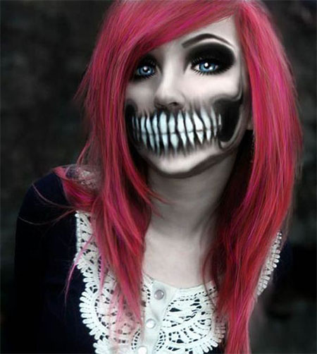 18 scary halloween mouth teeth amp half face makeup looks