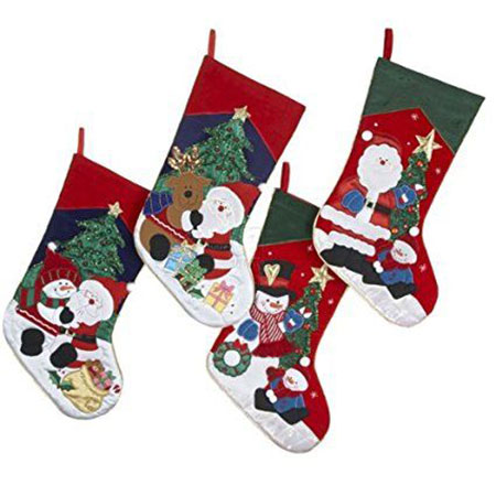 18 unique christmas knitted embroidered velvet stockings 2016