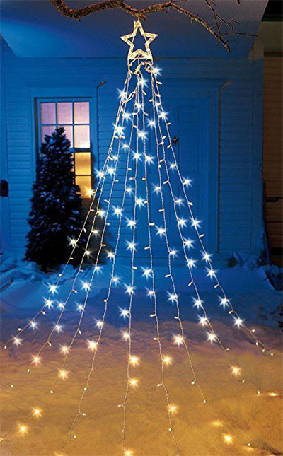 25 cheap unique christmas indoor outdoor decorations for How to hang string lights on trees