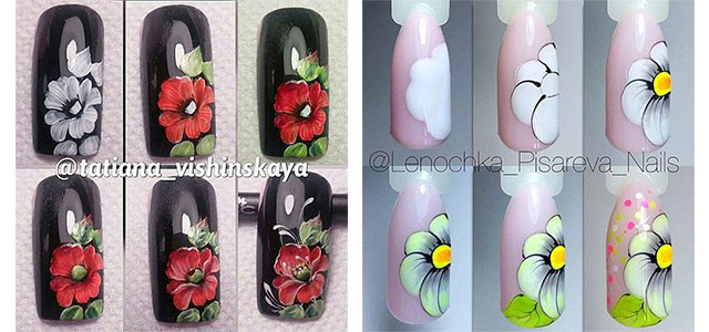 How to paint simple cute floral sencilla flower nail art ... |Flower Nail Art Tutorial Step By Step