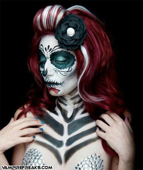 15-Creepy-Halloween-Skull-Make-Up-Looks-For-Girls-Women-2017-14