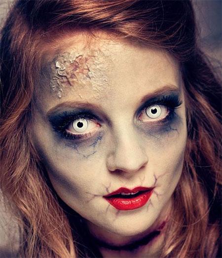 15 halloween doll face makeup ideas for girls women 2017 modern fashion blog. Black Bedroom Furniture Sets. Home Design Ideas