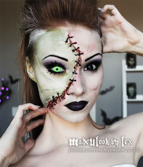 15+ Scary Halloween Mouth, Teeth & Half Face Makeup For