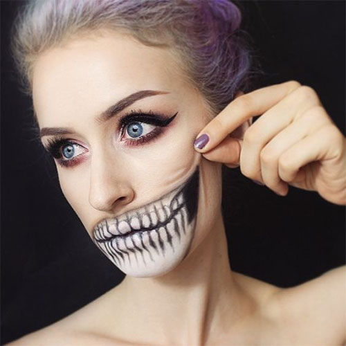 15-Scary-Halloween-Mouth-Teeth-Half-Face-Makeup-For-Girls-Women-2017-14