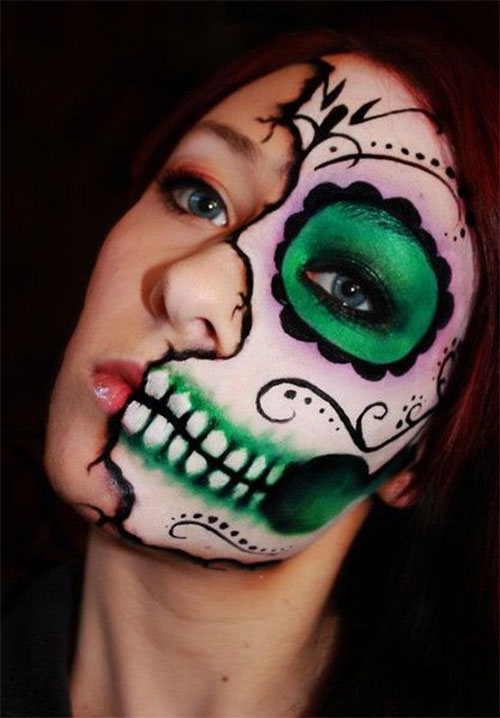 15-Scary-Halloween-Mouth-Teeth-Half-Face-Makeup-For-Girls-Women-2017-15
