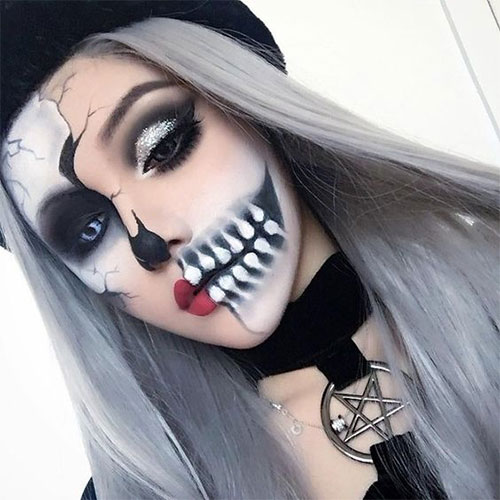 15 Scary Halloween Mouth Teeth Half Face Makeup For Girls - Halloween-face-makeup