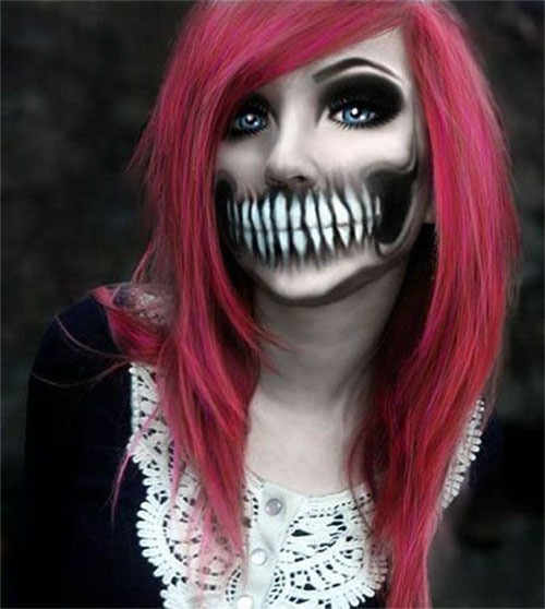 15-Scary-Halloween-Mouth-Teeth-Half-Face-Makeup-For-Girls-Women-2017-6