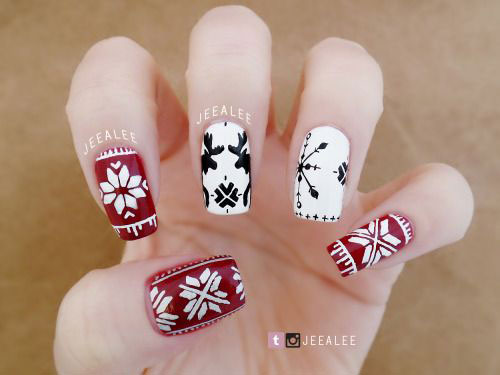 18-Ugly-Christmas-Sweater-Nail-Art-Designs-Ideas-2017-Xmas-Nails-11