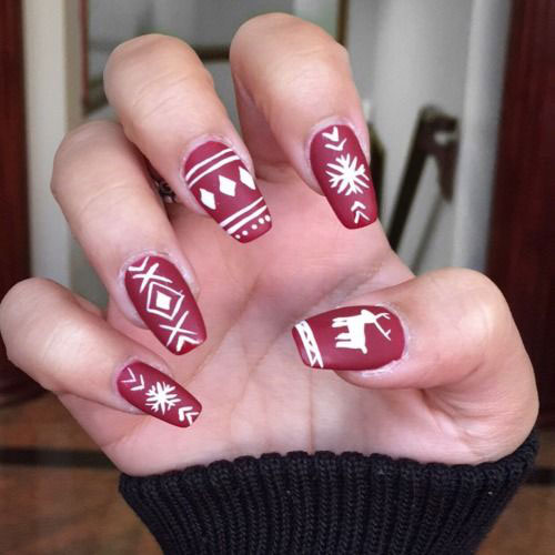 Christmas Nails Not Acrylic: 18 Ugly Christmas Sweater Nail Art Designs & Ideas 2017