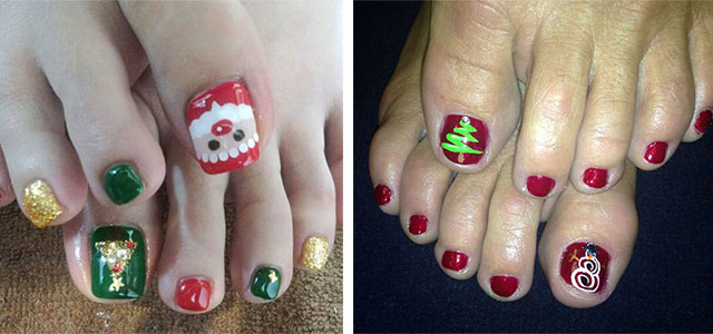 Merry-Christmas-Toe-Nail-Art-Designs-Ideas-2017- - Merry Christmas Toe Nail Art Designs & Ideas 2017 Xmas Nails