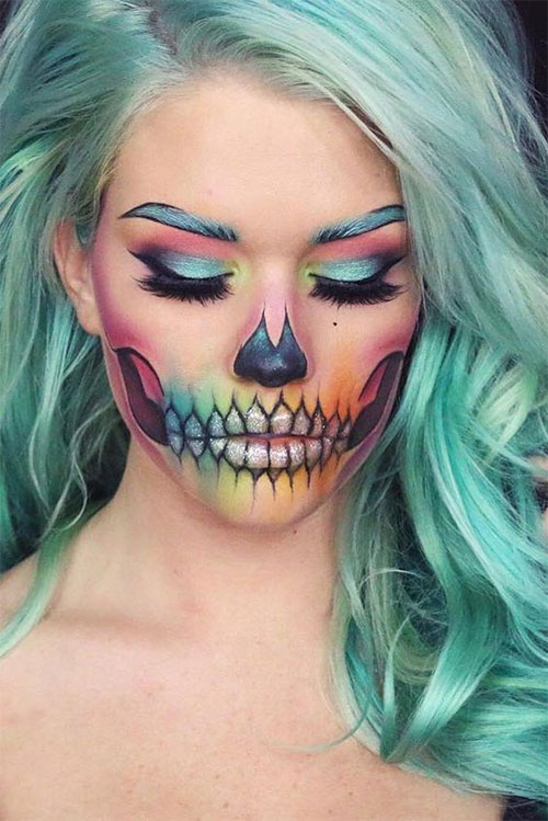 15-Creepy-Halloween-Skull-Make-Up-Looks-For-Girls-Women-2018-2