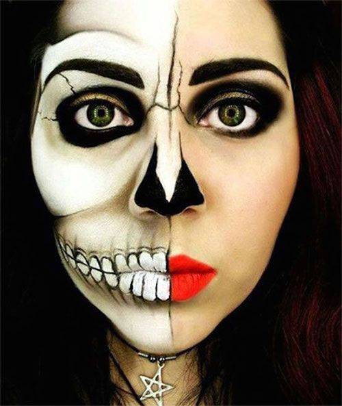 15-Scary-Halloween-Mouth-Teeth-Half-Face-Makeup-For-Girls-Women-2018-5