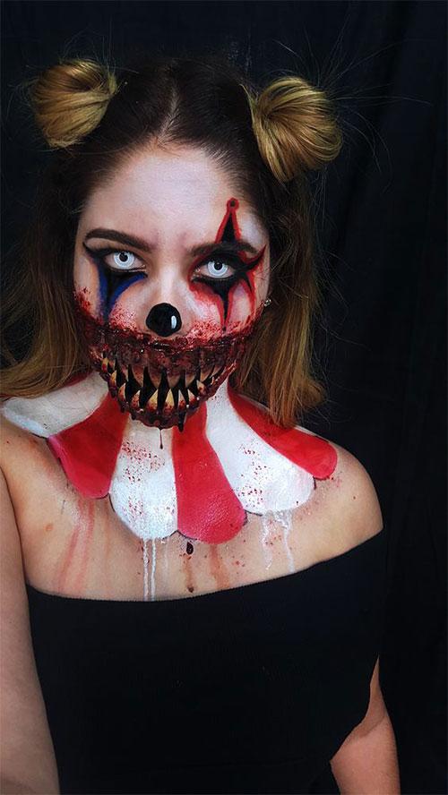 20-Halloween-Clown-Makeup-Ideas-For-Girls-Women-2018-15