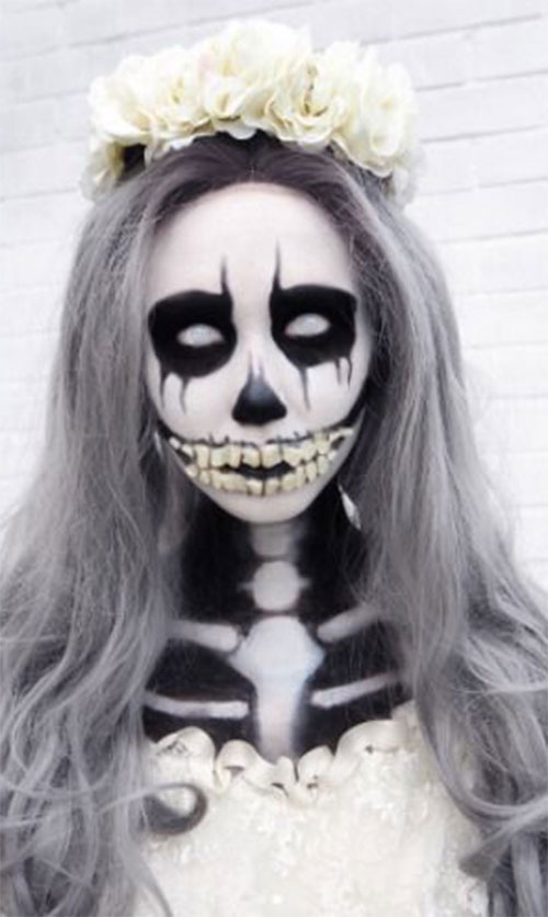 18-Halloween-Skull-Makeup-Looks-For-Girls-Women-2019-10