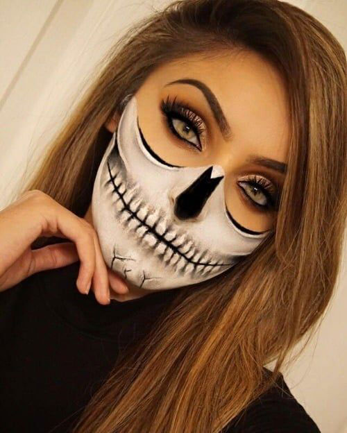 18-Halloween-Skull-Makeup-Looks-For-Girls-Women-2019-13