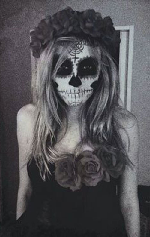 18-Halloween-Skull-Makeup-Looks-For-Girls-Women-2019-15