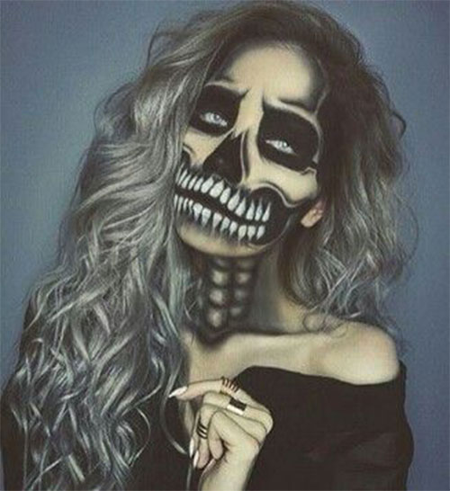 18-Halloween-Skull-Makeup-Looks-For-Girls-Women-2019-17