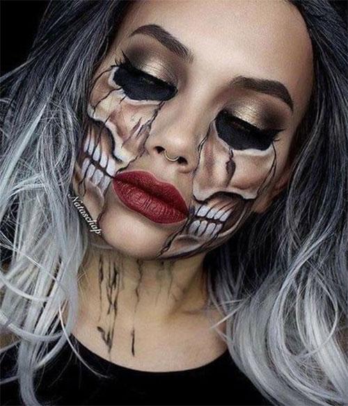 18-Halloween-Skull-Makeup-Looks-For-Girls-Women-2019-18