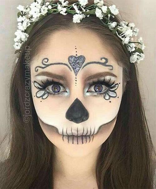 18-Halloween-Skull-Makeup-Looks-For-Girls-Women-2019-3