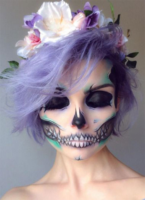 18-Halloween-Skull-Makeup-Looks-For-Girls-Women-2019-7
