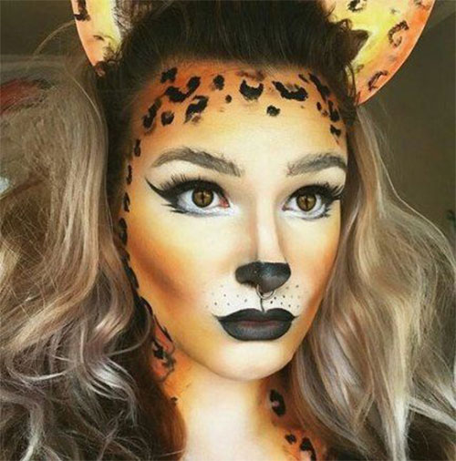 Cute-leopard-Halloween-Makeup-Ideas-For-Girls-Women-2019-11