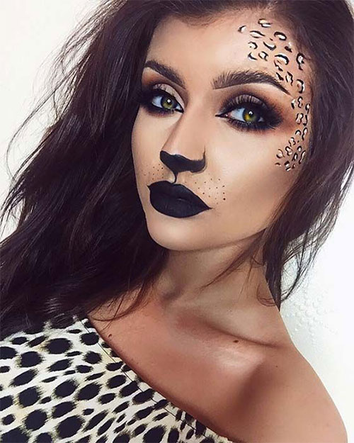Cute-leopard-Halloween-Makeup-Ideas-For-Girls-Women-2019-12