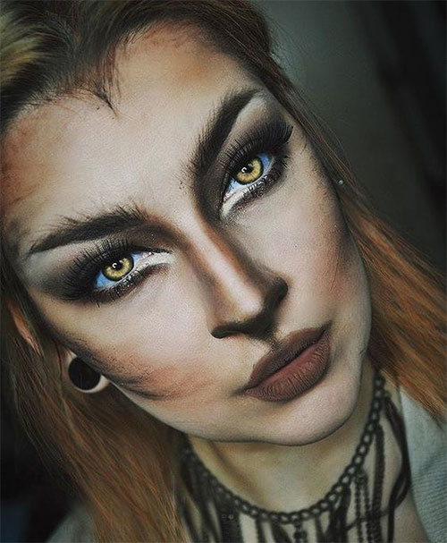 Cute-leopard-Halloween-Makeup-Ideas-For-Girls-Women-2019-13