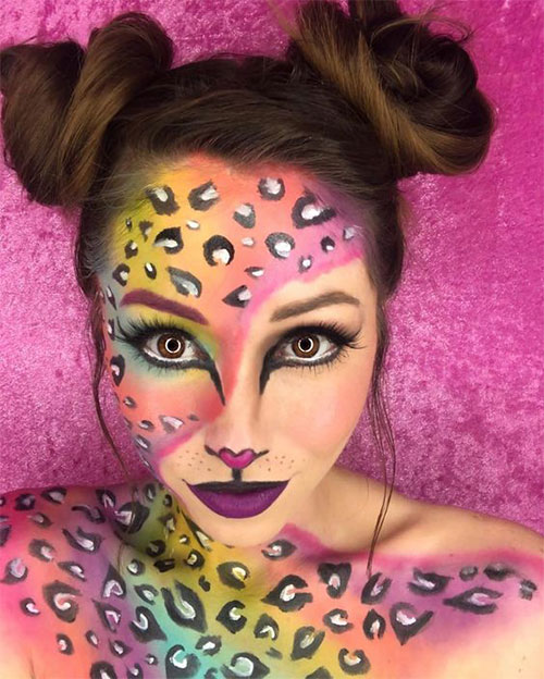 Cute-leopard-Halloween-Makeup-Ideas-For-Girls-Women-2019-2