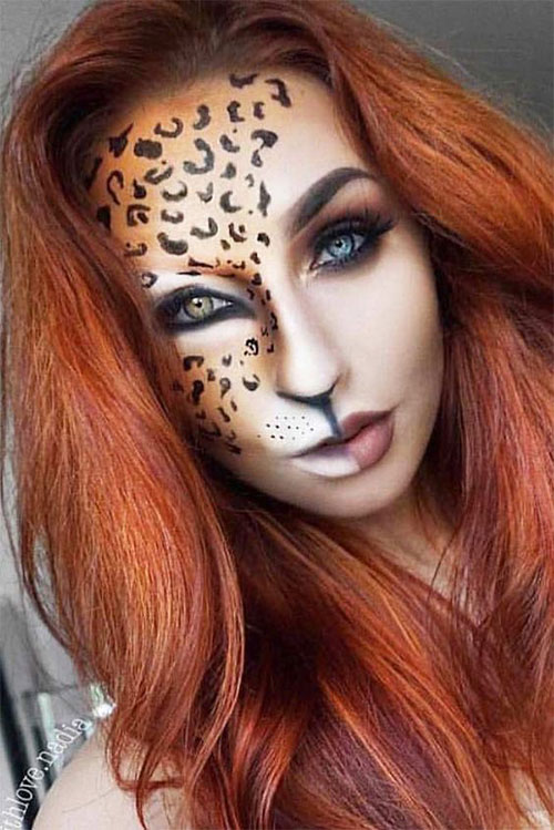 Cute-leopard-Halloween-Makeup-Ideas-For-Girls-Women-2019-3