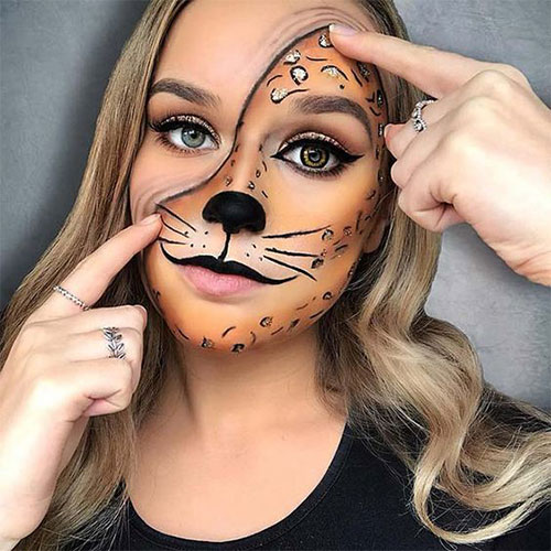 Cute-leopard-Halloween-Makeup-Ideas-For-Girls-Women-2019-4