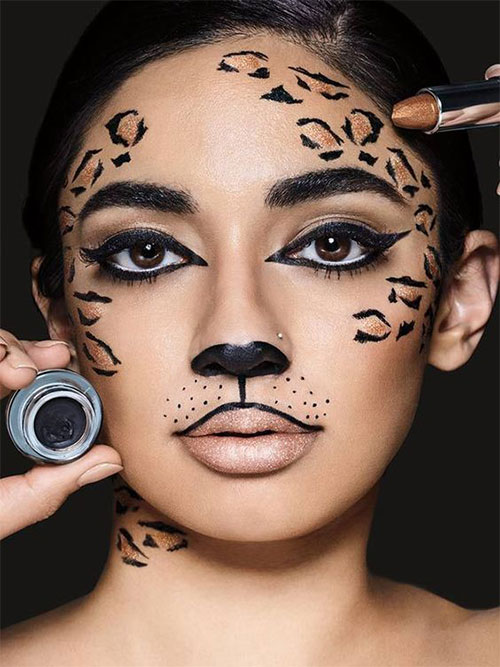 Cute-leopard-Halloween-Makeup-Ideas-For-Girls-Women-2019-5