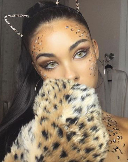 Cute-leopard-Halloween-Makeup-Ideas-For-Girls-Women-2019-8