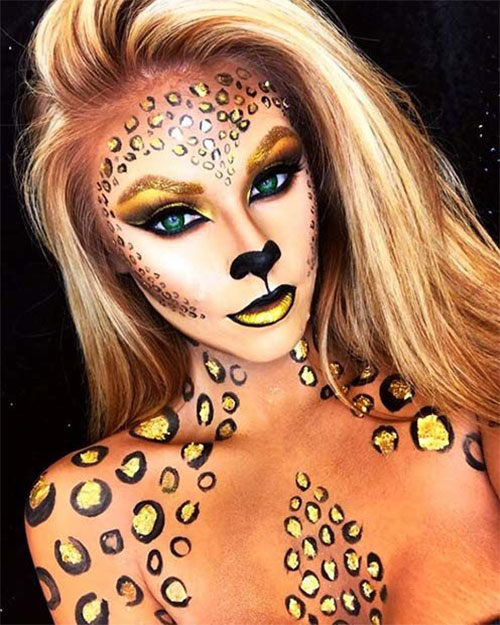 Cute-leopard-Halloween-Makeup-Ideas-For-Girls-Women-2019-9