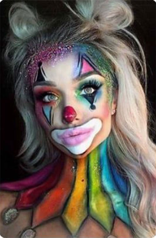 Halloween-Clown-Makeup-Looks-Ideas-For-Girls-Women-2019-14